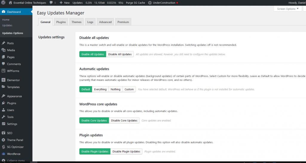 Wordpress dashboard update manager