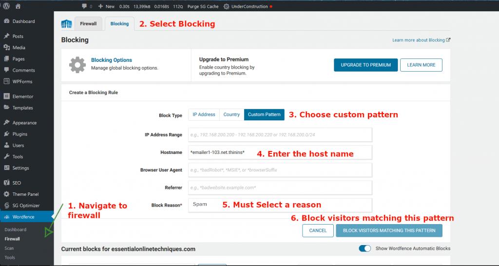 Dashboard - WordFence blocking