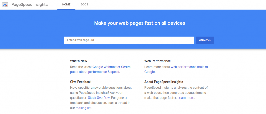 Pagespeed insights speed tests