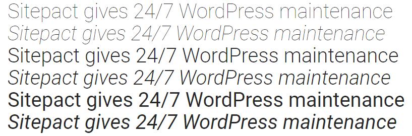 Sitepact Gives 24/7 Website Maintenance - Roboto Sans