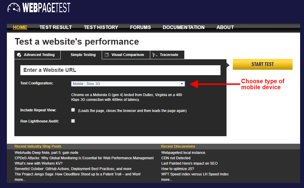 WebPagetest website speed test