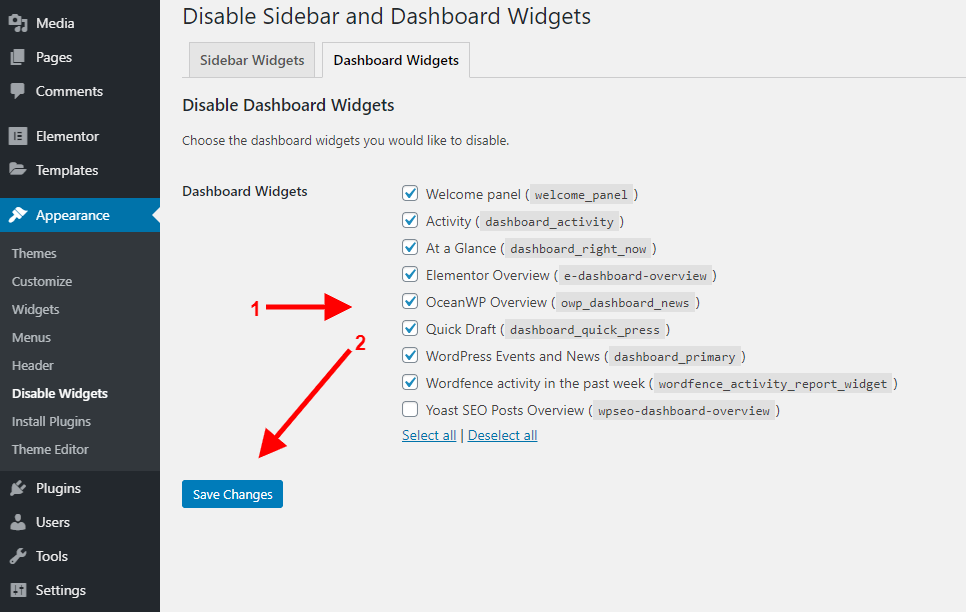 Disable widgets