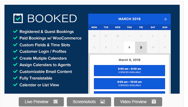 Booked appointment calendar for wordpress events
