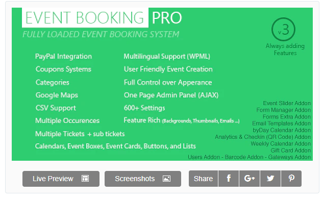 Event booking pro plugin