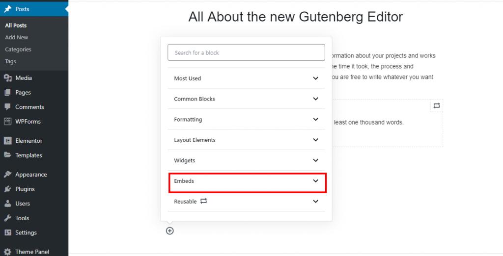 Embeds block in Gutenberg Editor