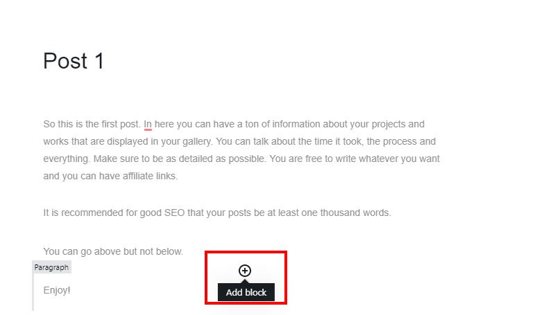 Add block by pressing plus icon