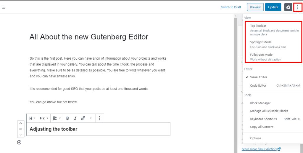Moving block toolbar around in Gutenberg WordPress editor