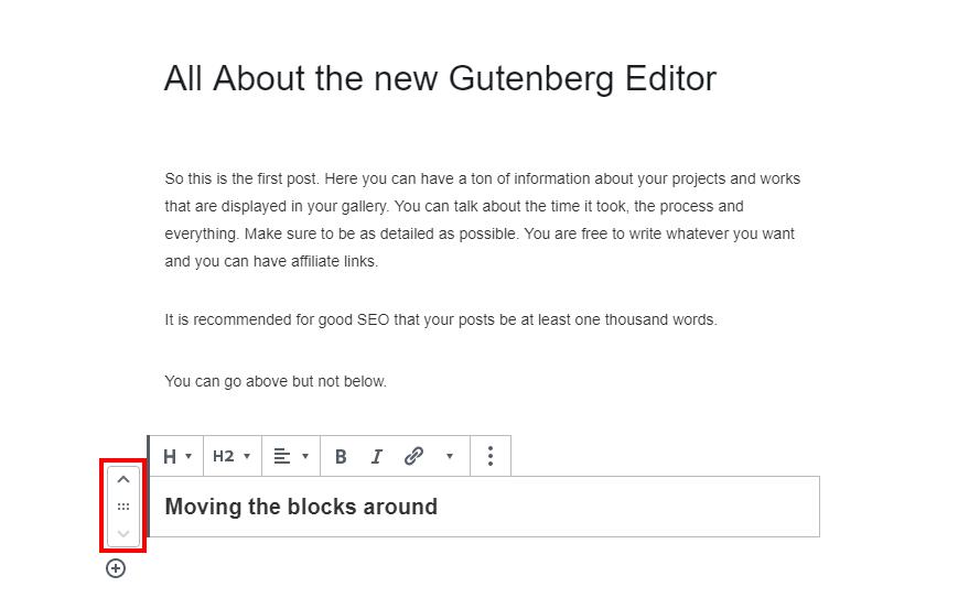 Moving Blocks in Gutenberg WordPress editor