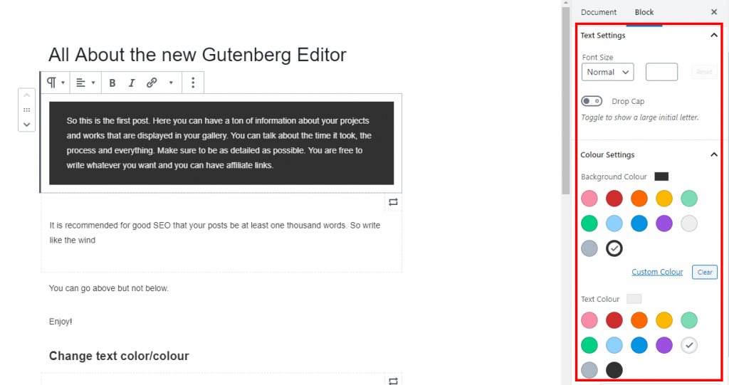 Gutenberg text settings